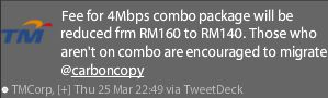TM to reduce Streamyx 4Mbps subscription to RM140/month