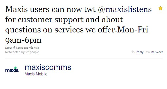 Maxis opens Twitter account to handle customer support