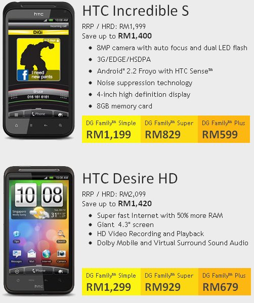 DiGi Family packages with HTC Android bundles