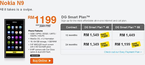 Nokia N9 now available on DiGi Smart Plan