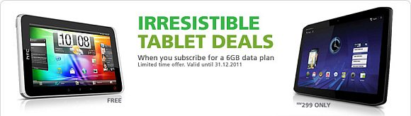 Maxis offers FREE HTC Flyer and RM299 Motorola Xoom 3G with data bundling