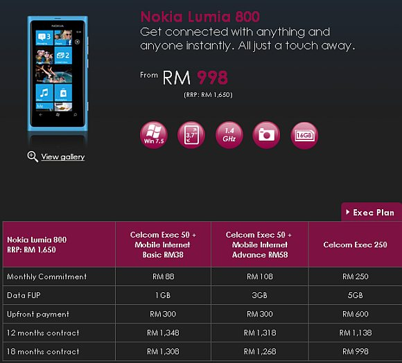Celcom's offers Nokia Lumia 800 from RM998