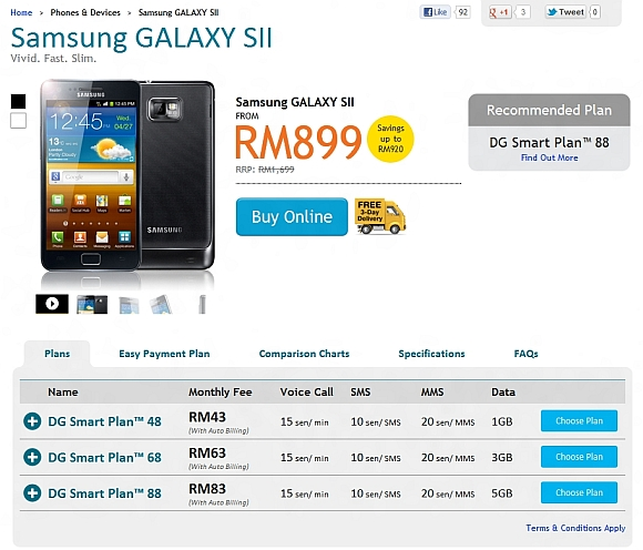 Samsung Galaxy S II RRP drops to RM1,699. DiGi drops subsidised pricing to as low as RM899
