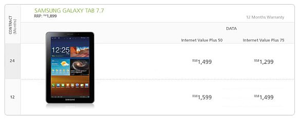 Samsung Galaxy Tab 7.7 RRP at RM1899, now on Maxis