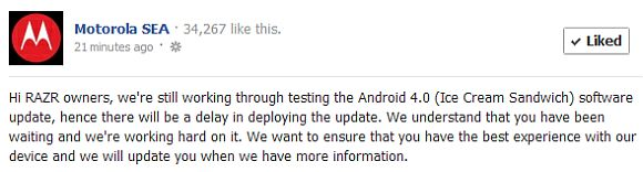 Motorola SEA Announces Delay to ICS Update for RAZR