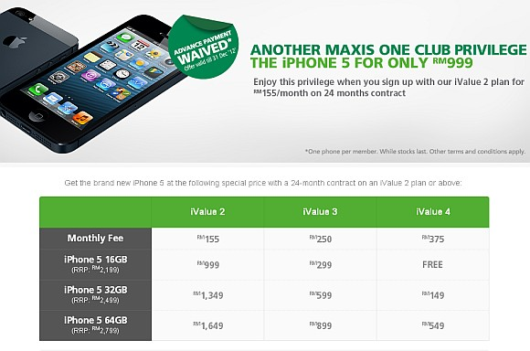 Maxis introduces iPhone 5 One Club offer, waives advance payment