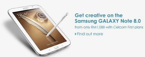 Celcom offers Samsung Galaxy Note 8.0 from RM1,088