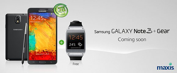 Maxis to offer Samsung Galaxy Note 3 on launch day with Free Galaxy Gear Smart Watch