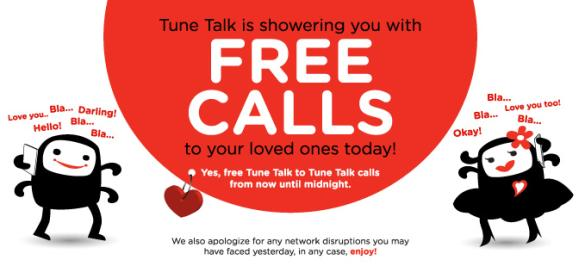 Tune Talk is spreading their love with Free Calls until midnight tonight