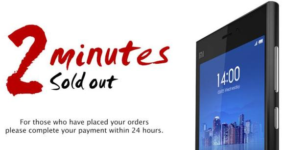 Xiaomi high-end Mi 3 smart phone sold out in Singapore in 2 minutes