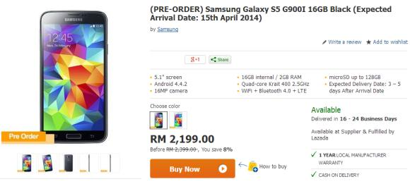 Lazada offers the Samsung Galaxy S5 at RM200 less