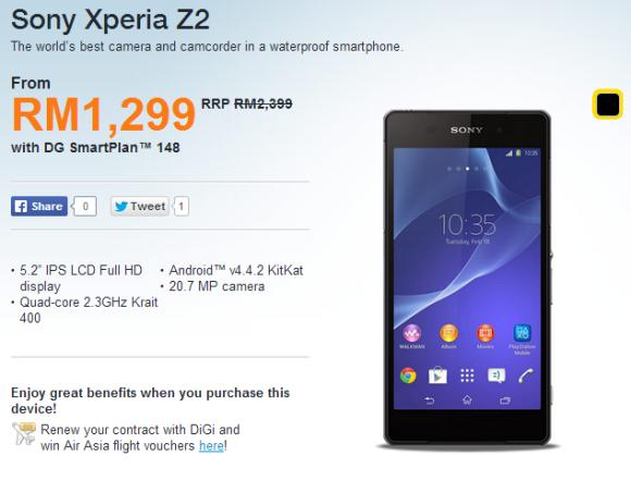 DiGi offers the Sony Xperia Z2 from as low as RM1,299
