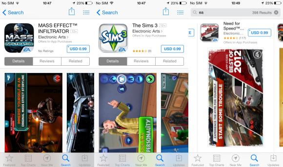 EA offering most games titles for 99 cents on iOS
