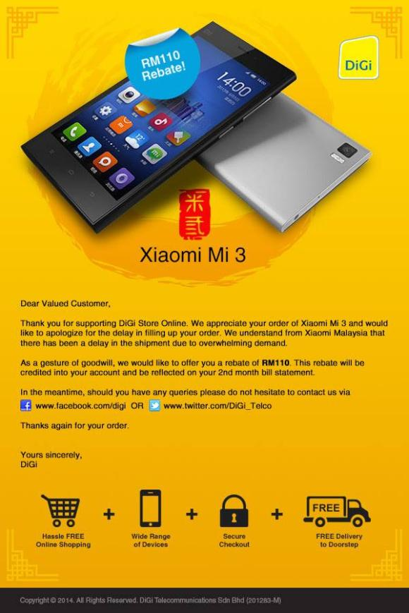DiGi offers rebate to Mi 3 buyers that have yet to receive their orders