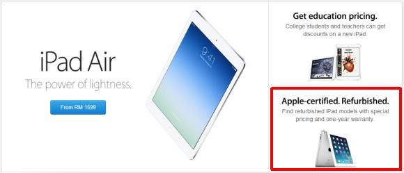Apple to sell refurbished iPads online with official warranty in Malaysia?