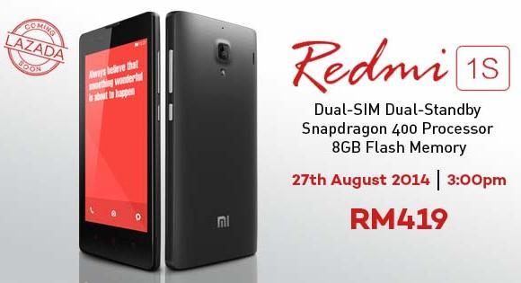Lazada Malaysia offers the Redmi 1S next week