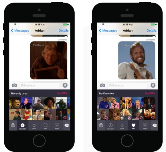 Send Animated GIFs with PopKey Keyboard for iOS 8