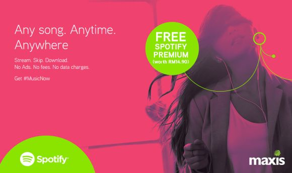 Maxis and Hotlink offer 3 months Free Spotify Premium with no data charges