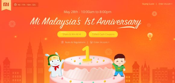 Mi Malaysia 1st anniversary sale on 28 May. Priority Mi 4i sale for first loyal customers