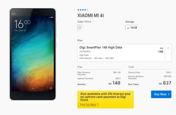 Xiaomi Mi 4i available from RM0 with Digi SmartPlan