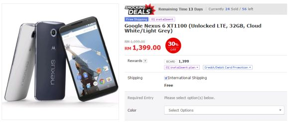 You can get the Nexus 6 from as low as RM1,399