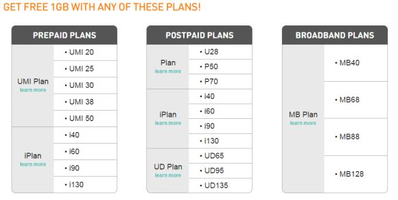 U Mobile gives you free additional 1GB data for this month only