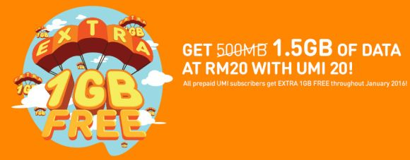 U Mobile continues to give 1GB extra for all Prepaid UMI users