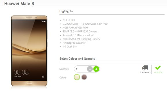 The Huawei Mate 8 is now available from Maxis