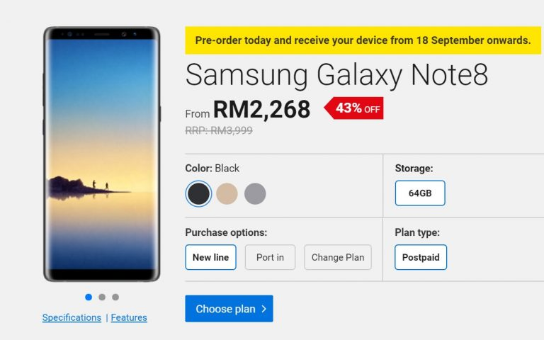 Digi opens pre-order for the Galaxy Note8 from RM2,268