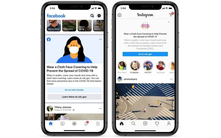 Facebook and Instagram will have face mask reminders at the top of your feed