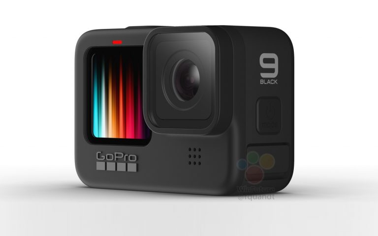 This is the GoPro Hero 9 Black, featuring a front colour display