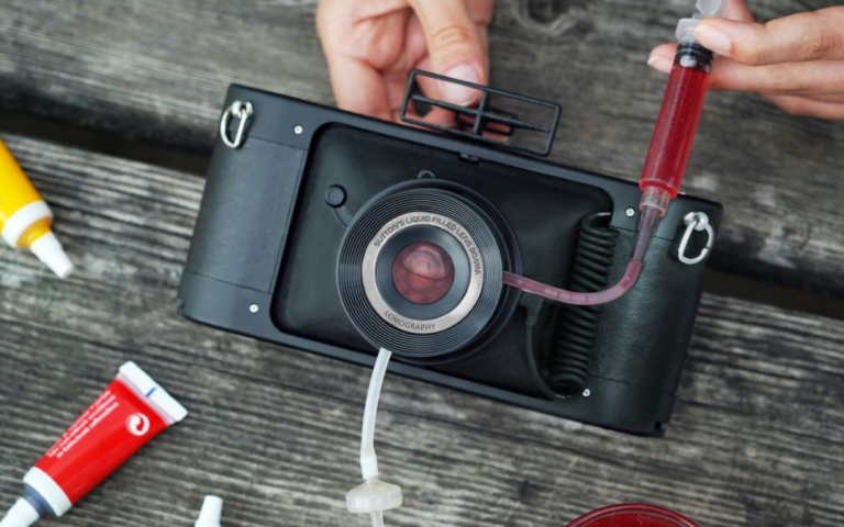 Lomography's new HydroChrome 35mm film camera has a lens you can fill with liquids
